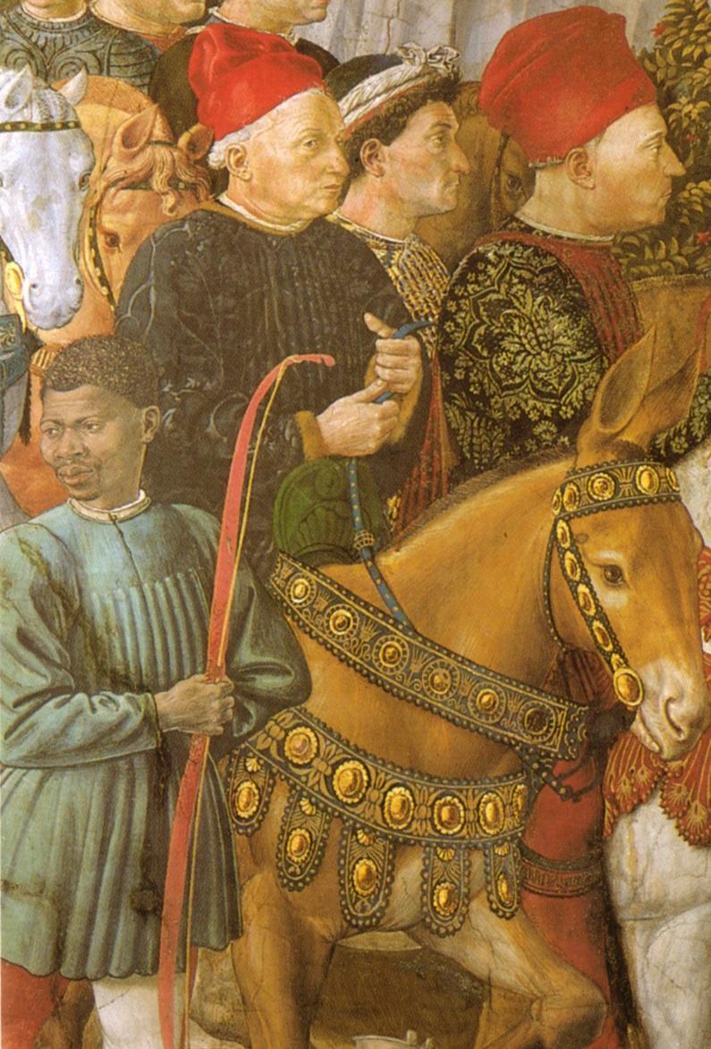 Cosimo il Vecchio (particolare dalla Cavalcata dei magi), Benozzo Gozzoli, 1460; Firenze, Palazzo Medici Riccardi