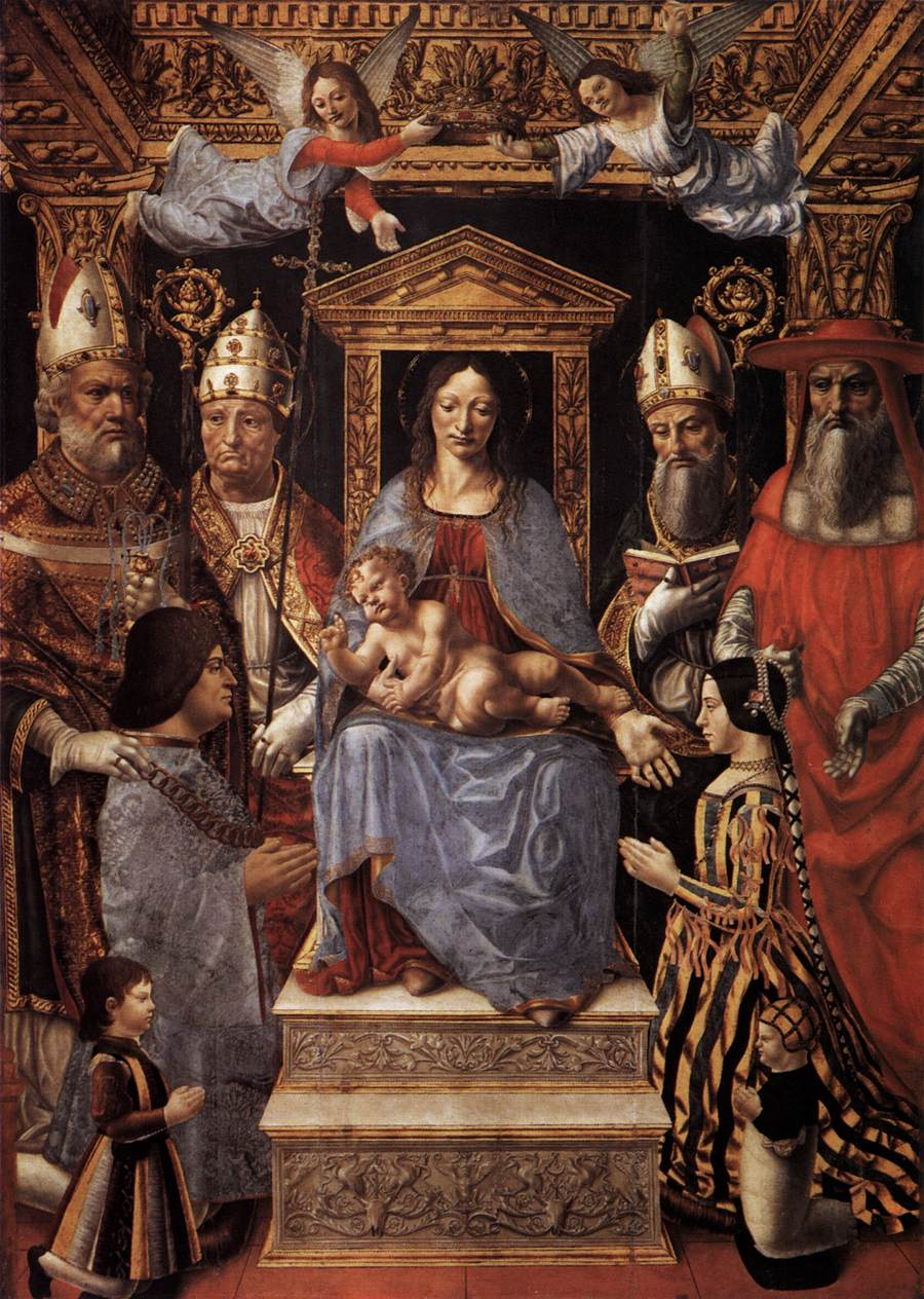 Ludovico il Moro inginocchiato ai piedi della Vergine, pala Sforzesca, 1494-95; Milano, Pinacoteca di Brera.