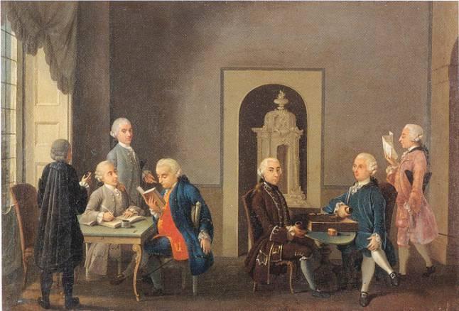 Antonio Perego, L'Accademia dei Pugni, 1766, olio su tela, part., Milano, collezione privata.