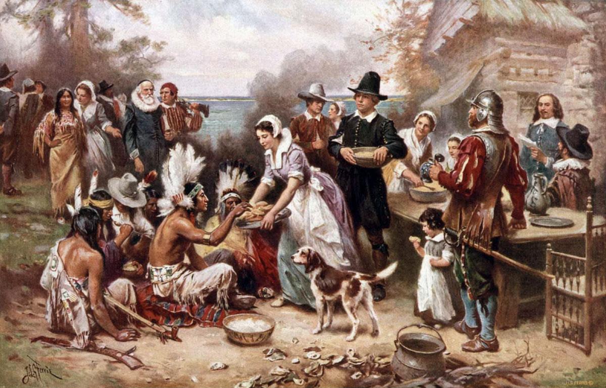 pranzo-ringraziamento-tra-nativi-e-colonizzatori